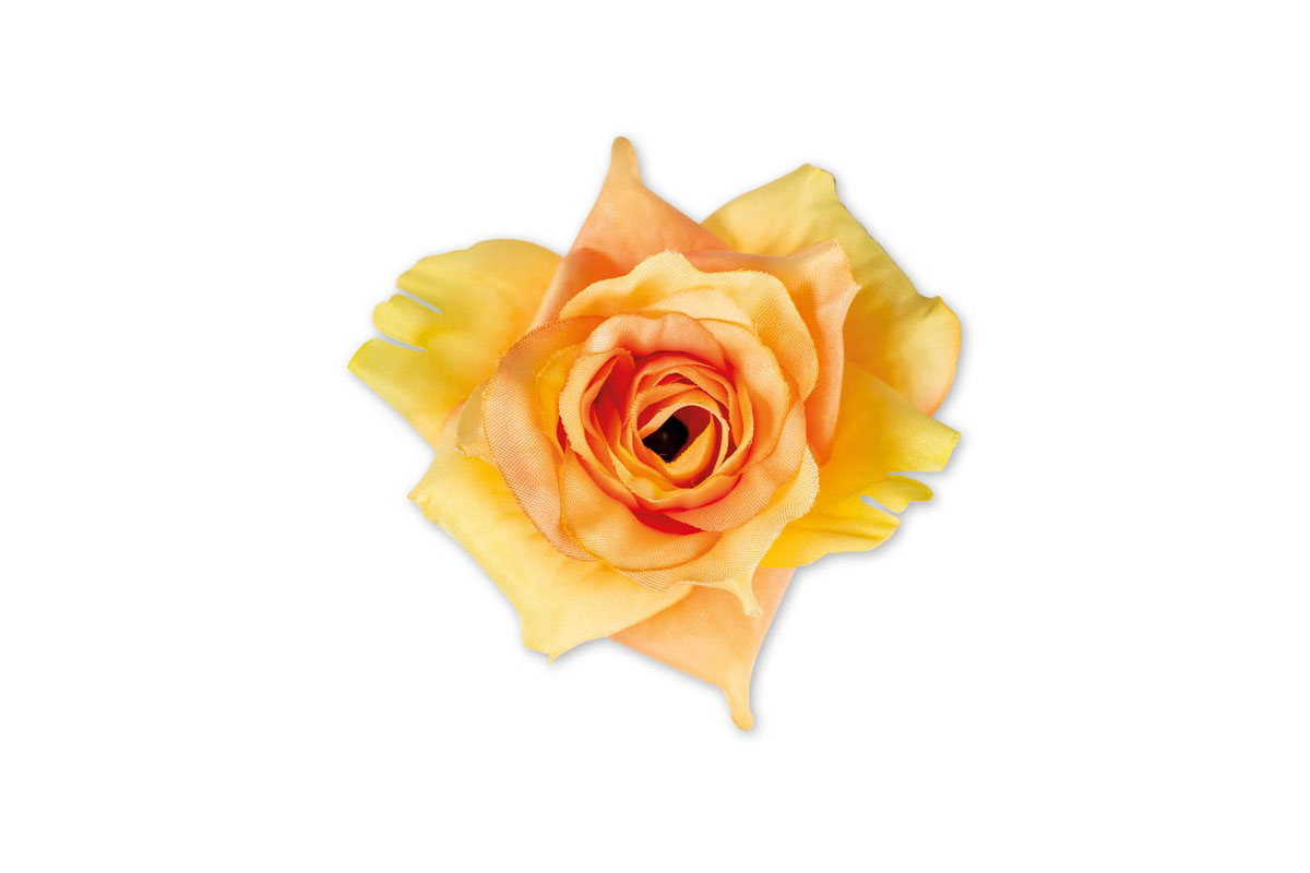 Květina vazbová, umělá růže, barva žluto-oranžová, cena za balení 12 kusů