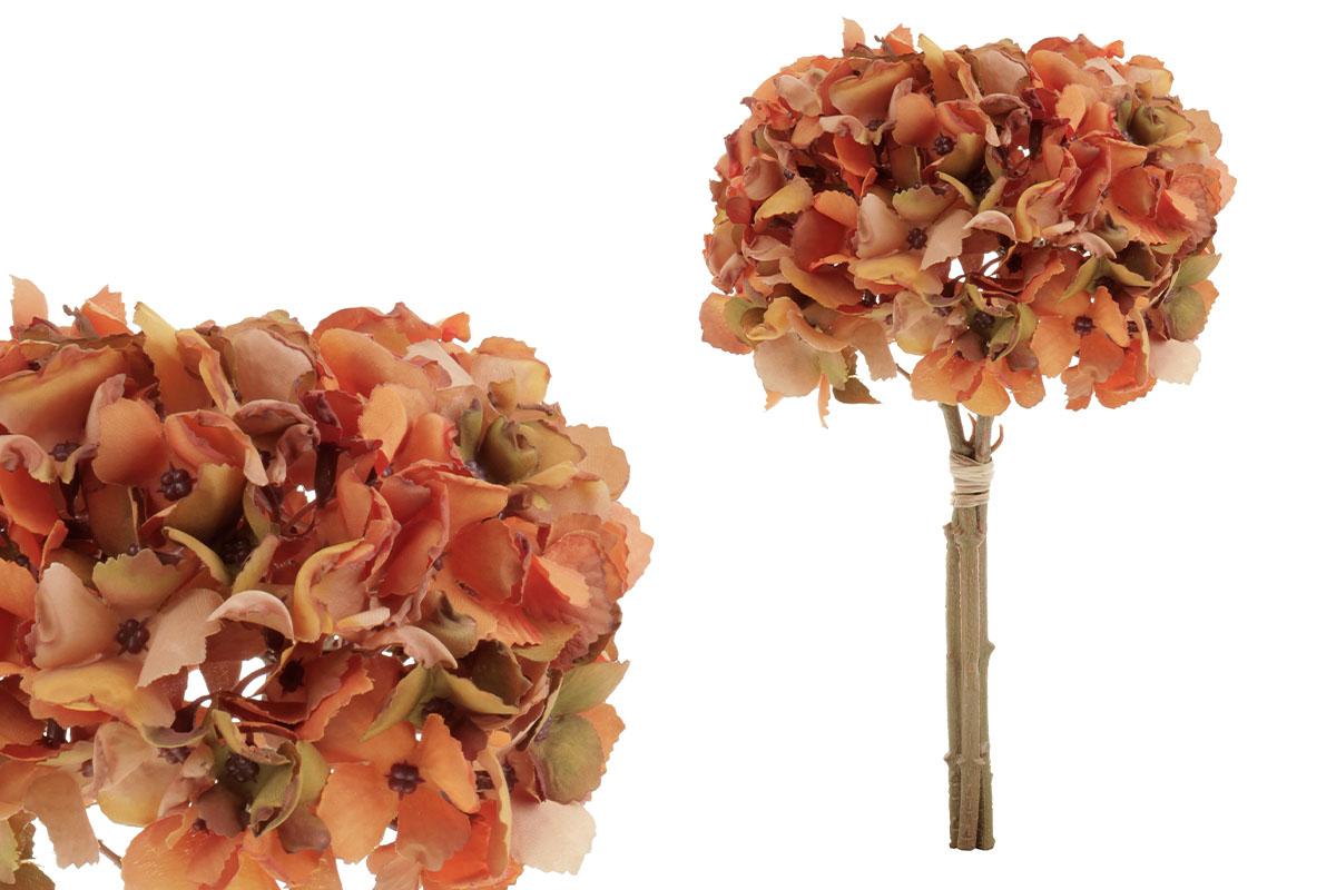 Hortenzie, puget.  Květina umělá, barva oranžová