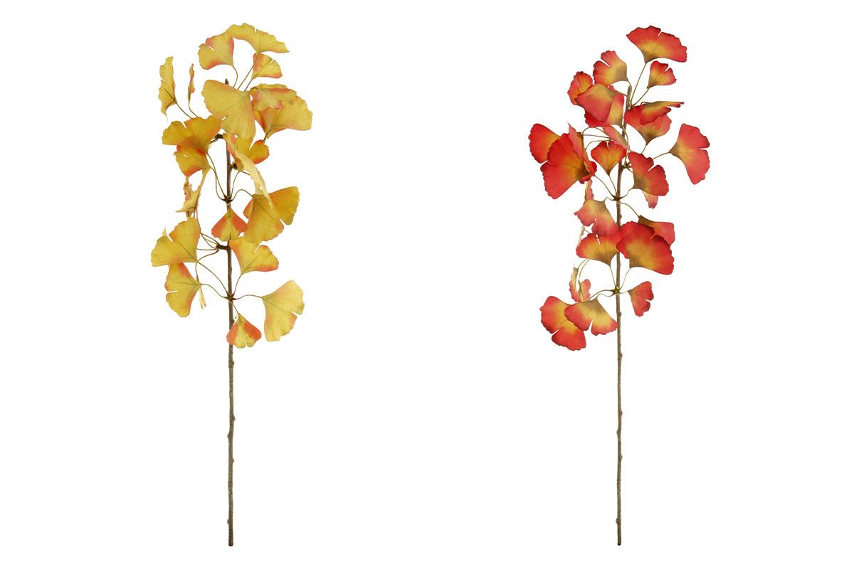 Ginkgo biloba,květina umělá, mix dvou barev oranžové a žluté, cena za 1 kus