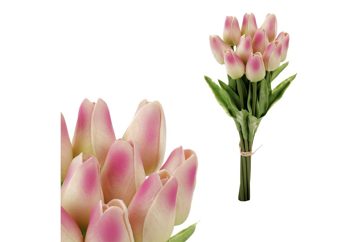 Puget mini tulipánů, 10-květů, barva krémovo-růžová. Materiál pěna.