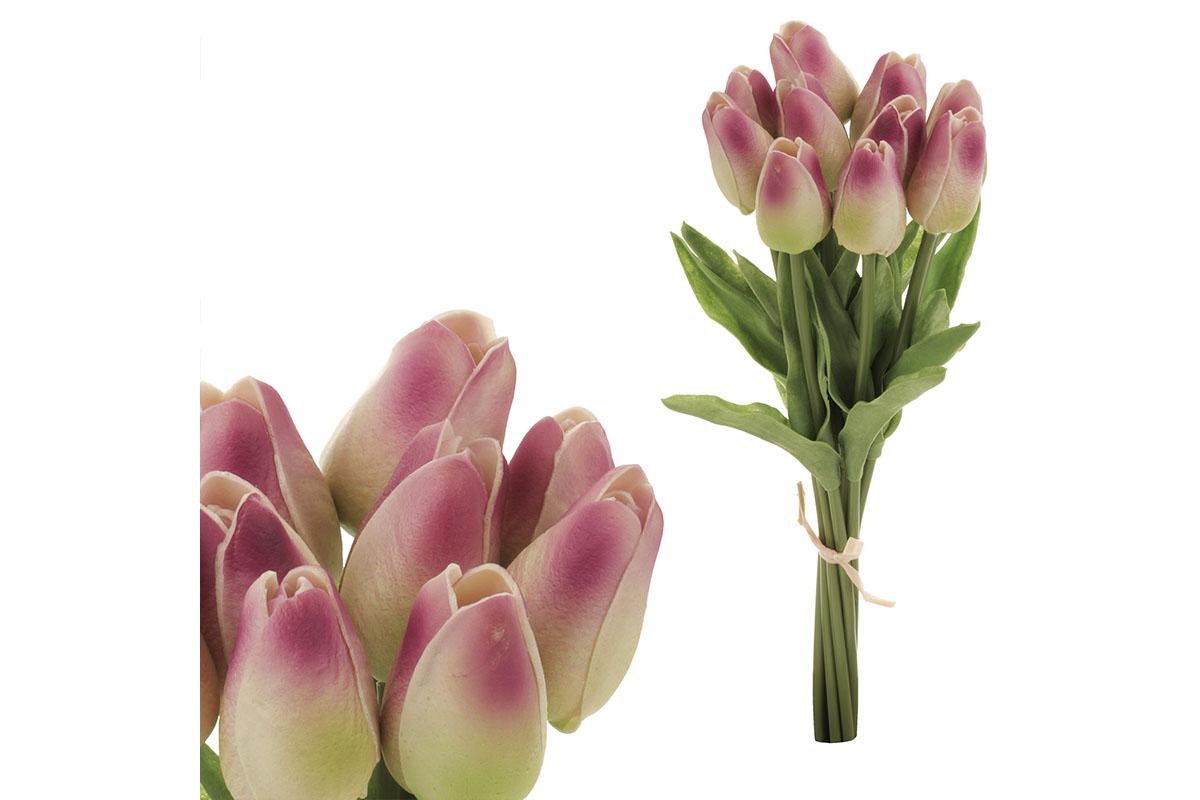 Puget mini tulipánů, 10-květů, barva zeleno-fialová. Materiál pěna.