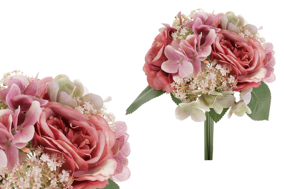 Puget umělých květin, mix horzenzie a růže.