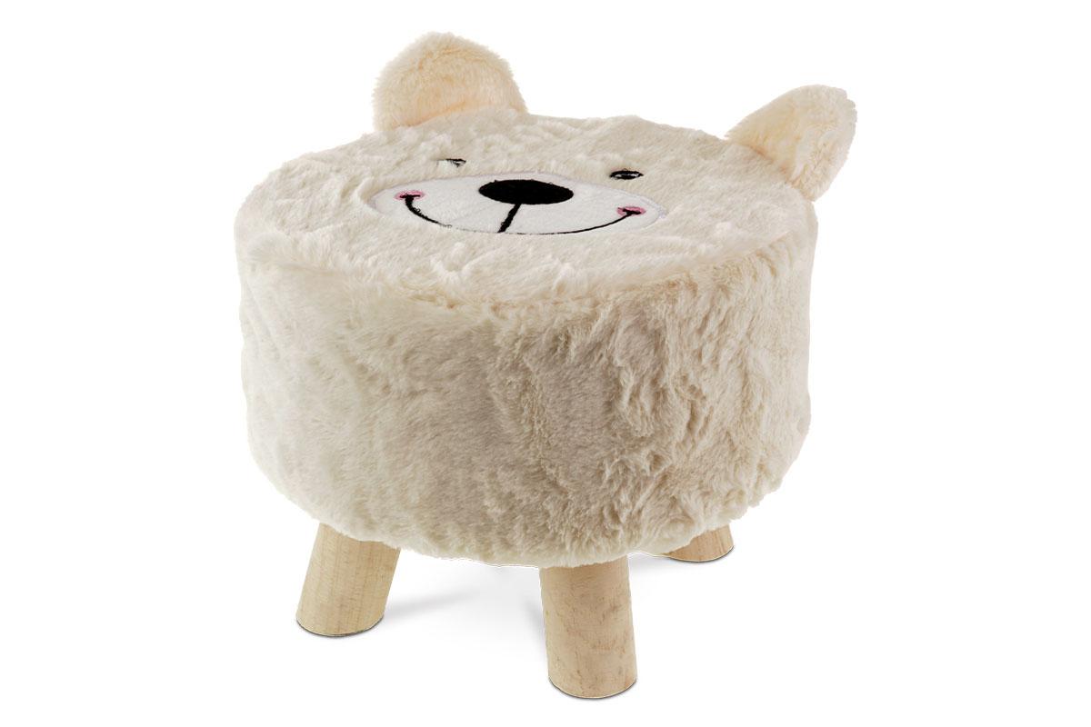 Taburet -  medvěd,  smetanová látka,  dřevěné nohy
