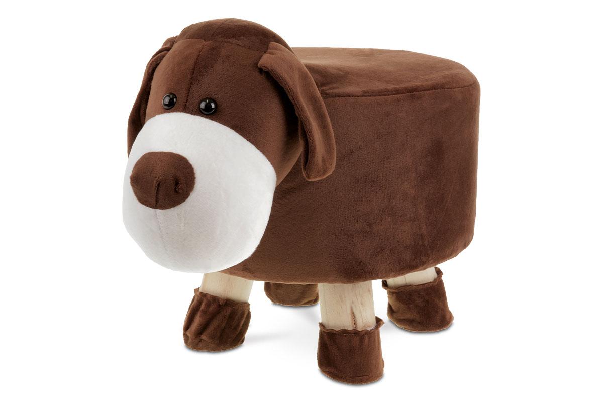 Taburet -  pes, hnědá látka,  dřevěné nohy