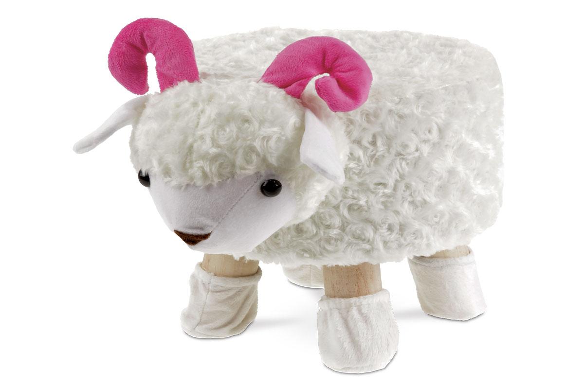 Taburet -  ovce, hnědá látka,  dřevěné nohy
