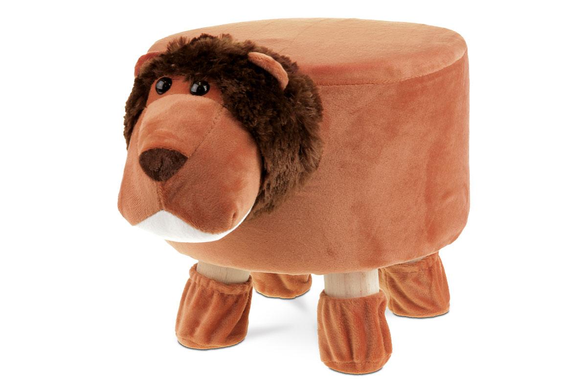 Taburet -  lev, hnědá látka,  dřevěné nohy