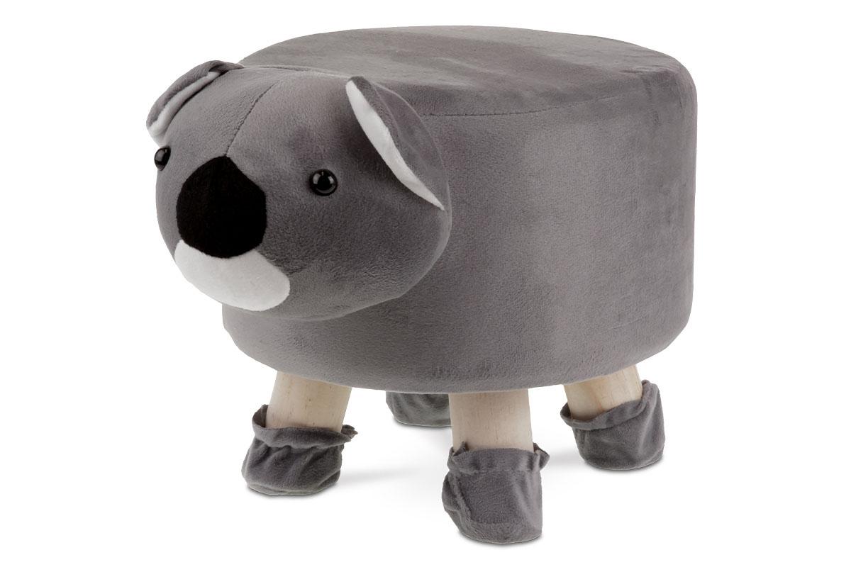 Taburet -  koala, šedá látka,  dřevěné nohy