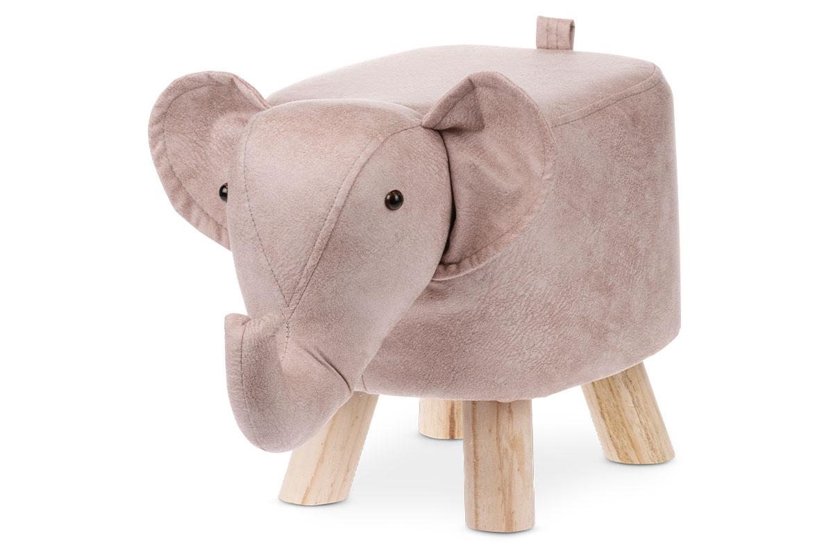 Taburetka - slon, poťah staroružová látka v dekore vintage kůže, masívne nohy z kaučukovníku v prírodnom odtieni