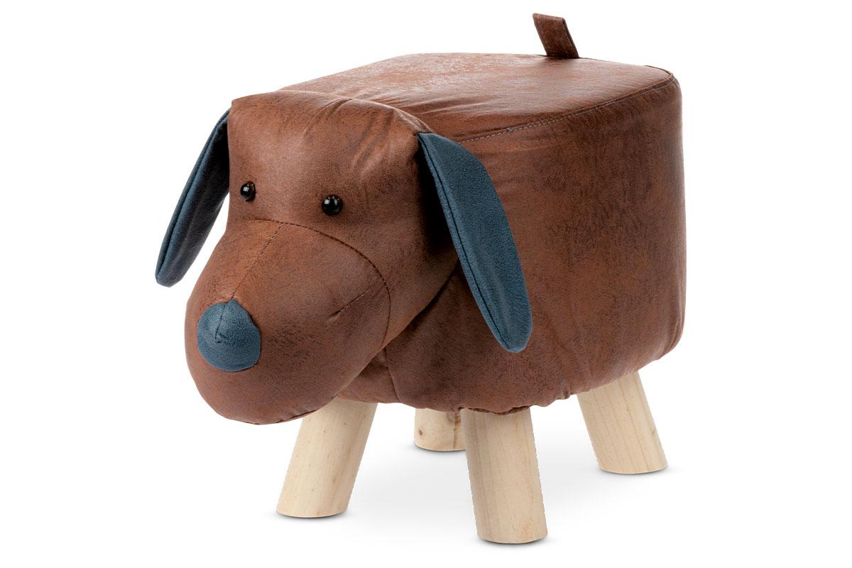 Taburetka - pes, poťah hnedá látka v dekore vintage kože, masívne nohy z kaučukovníku v prírodnom odtieni