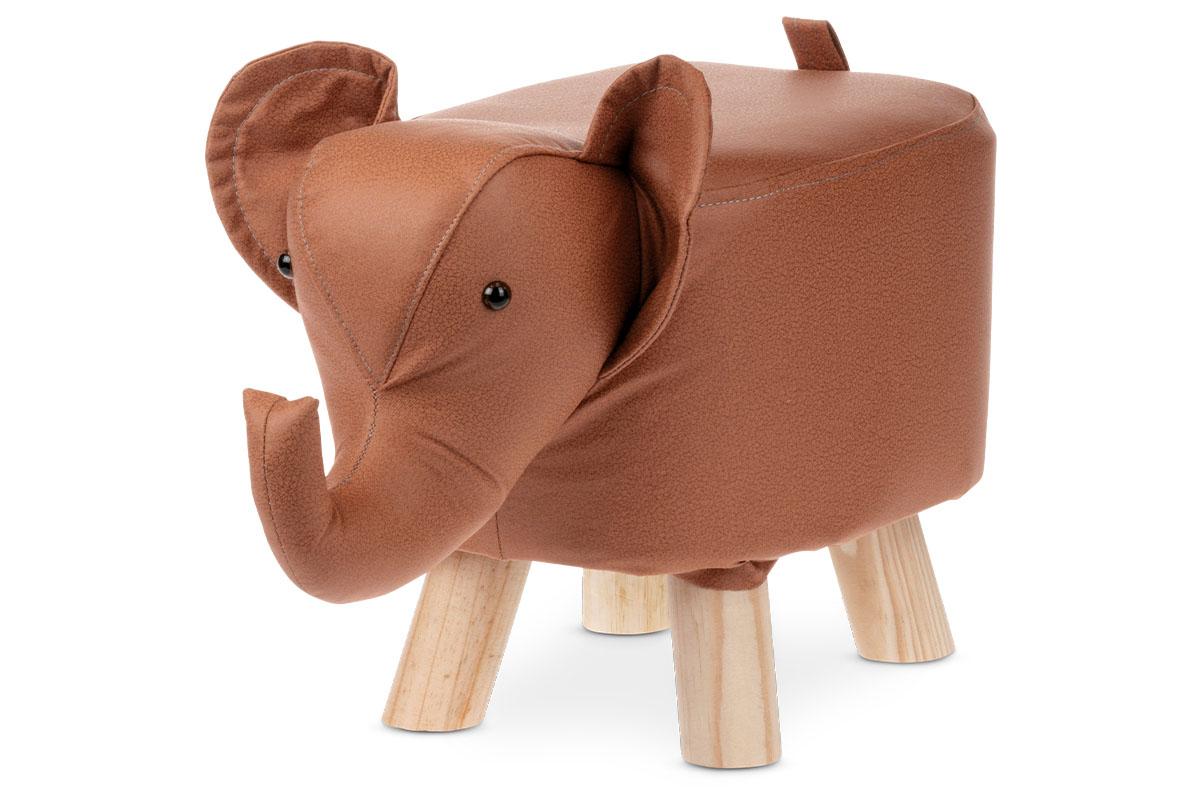 Taburetka - slon, poťah škoricovo hnedá látka v dekore kože, masívne nohy z kaučukovníku v prírodnom odtieni
