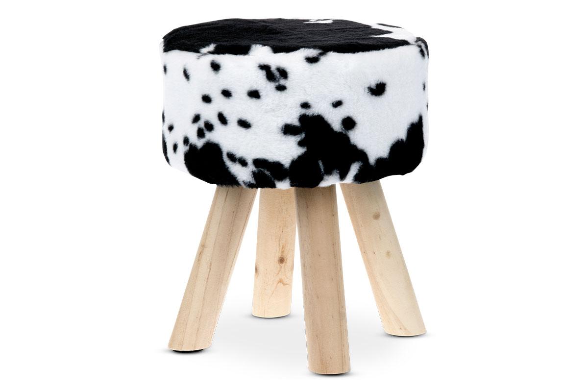 Taburet, poťah čiernobiela umelá kožušina v dekore čiernej hovädzej kože, masívne nohy z kaučukovníku, prírodný odtien