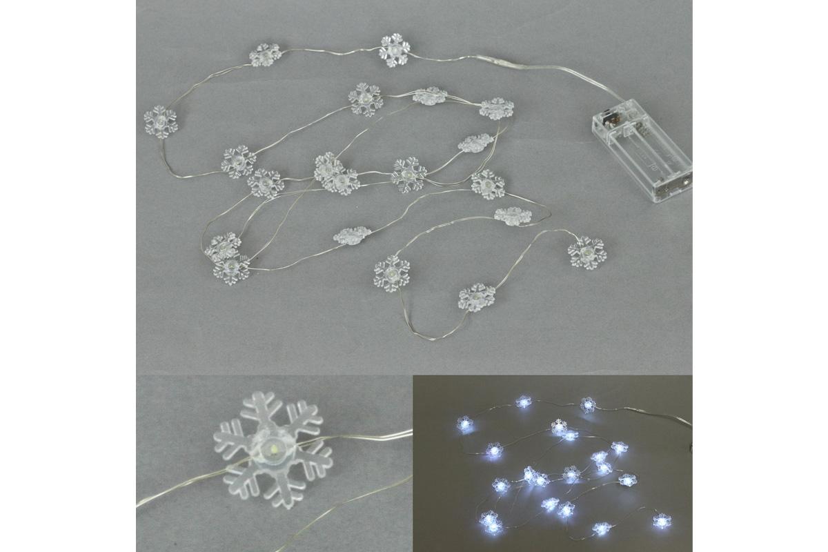 Reťaz s LED svietielkami na batérie, farba studená biela