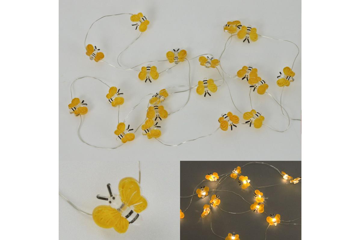 Reťaz s LED svietielkami na batérie, farba teplá biela