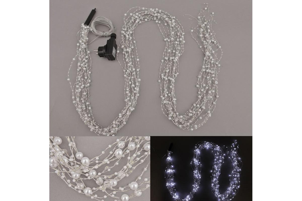 Reťaz s LED svietielkami, do zásuvky, vonkajšia IP44, farba studená biela