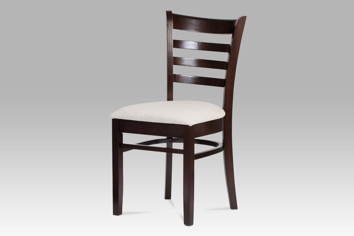 jedálenská stolička, orech, poťah krémový-LEON WAL