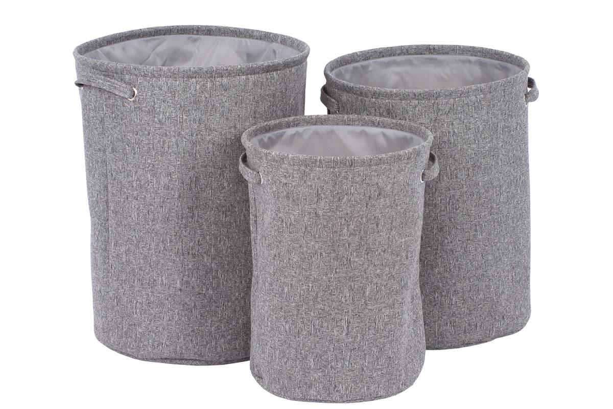 Koš na špinavé prádlo v šedivé látce, Sada 3ks, Polyester.
