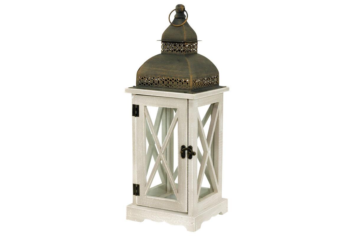 Drevená lucerna s kovovou strieškou, farba antik bielo-šedá