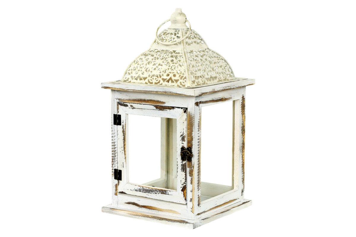 Drevená lucerna s kovovou strieškou, farba antik biela
