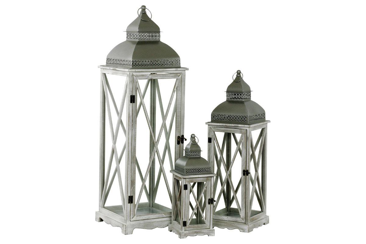 Drevená lucerna, farba antik bielo-šedá, sada 3 ks