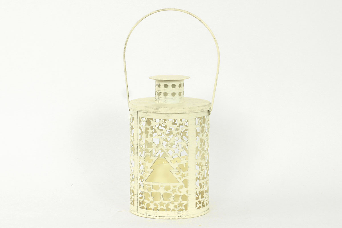 Kovová lucerna s LED sviečkou, farba biela antik
