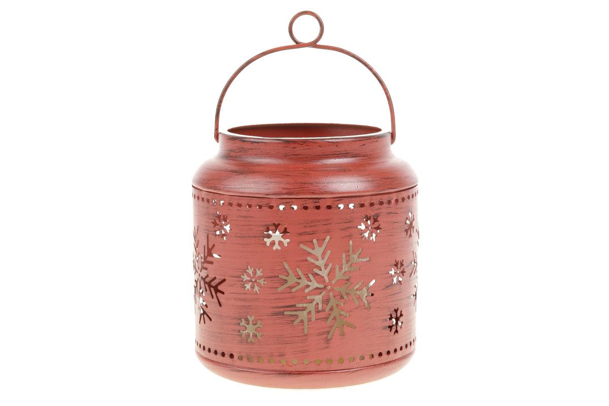Kovová lucerna, farba antik červená