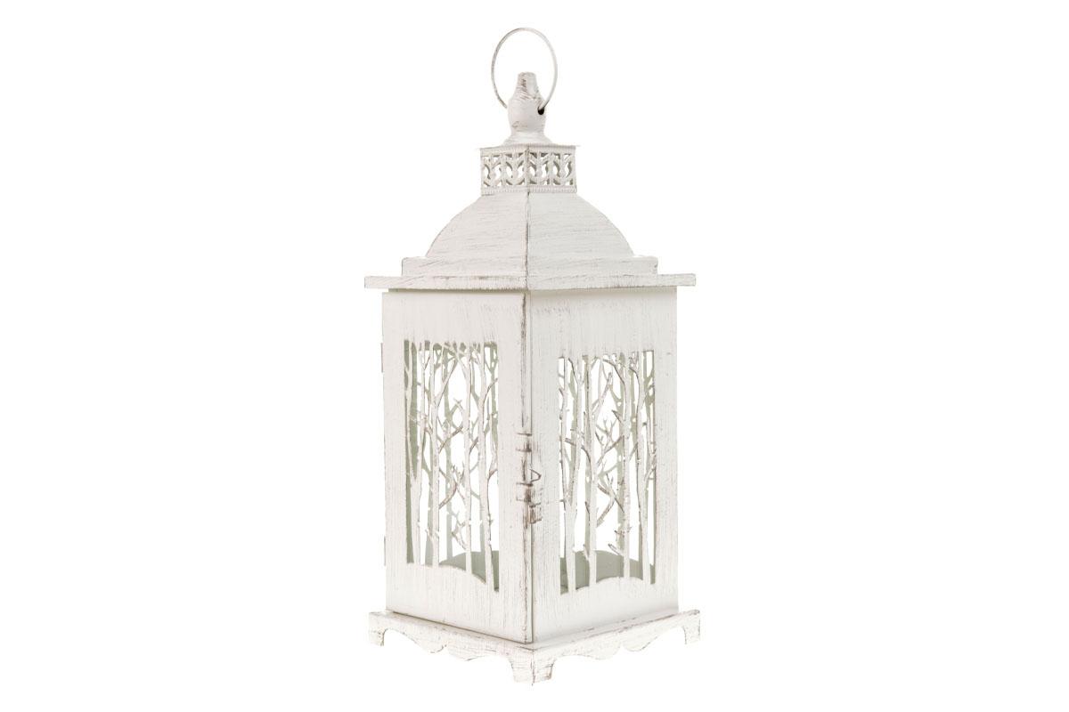 Kovová lucerna, farba biela, antik