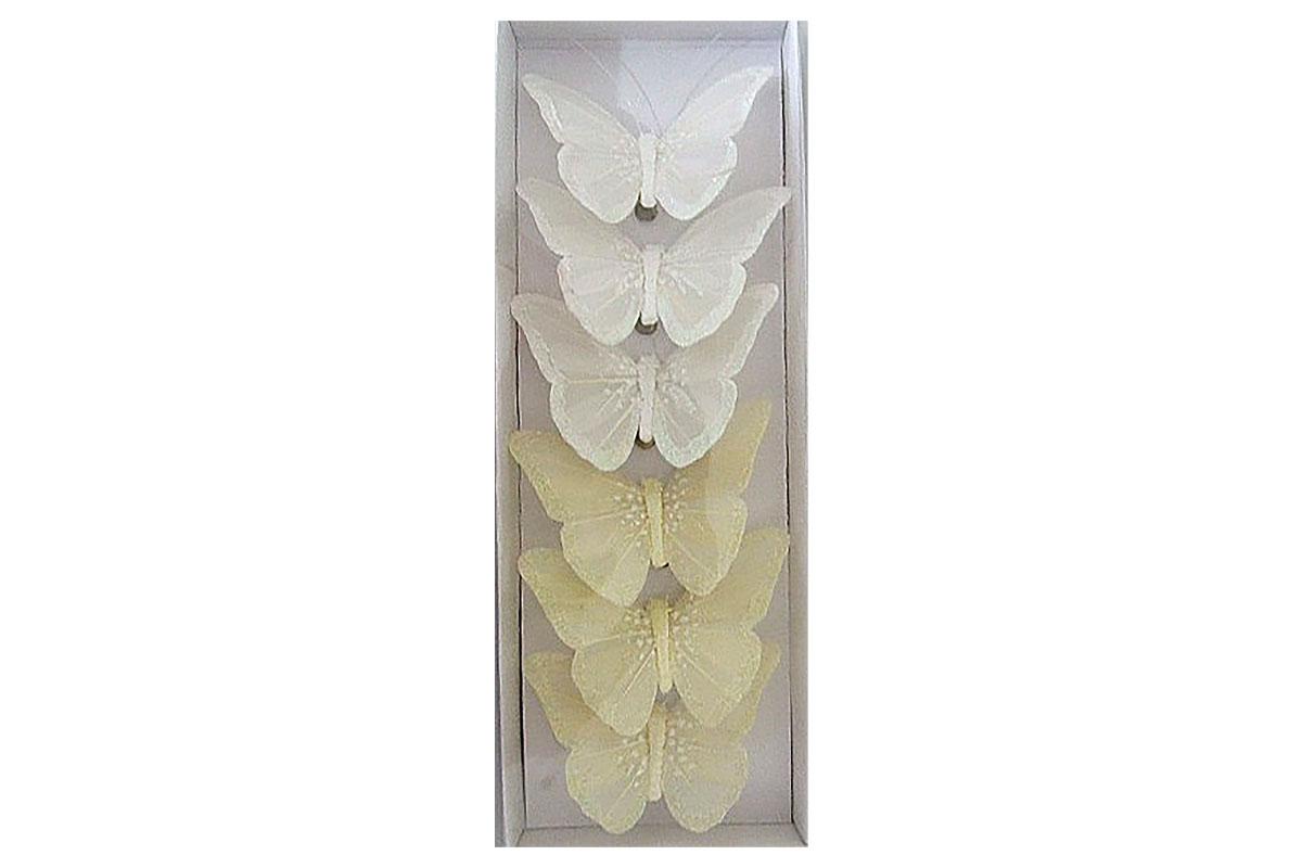 Motýli s klipem, 6ks v krabičce, barva bílá a smetanová s glitry, cena za 1 krabičku