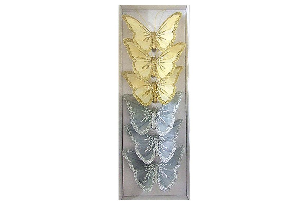Motýli s klipem, 6ks v krabičce, barva krémová a šedá s glitry, cena za 1 krabičku