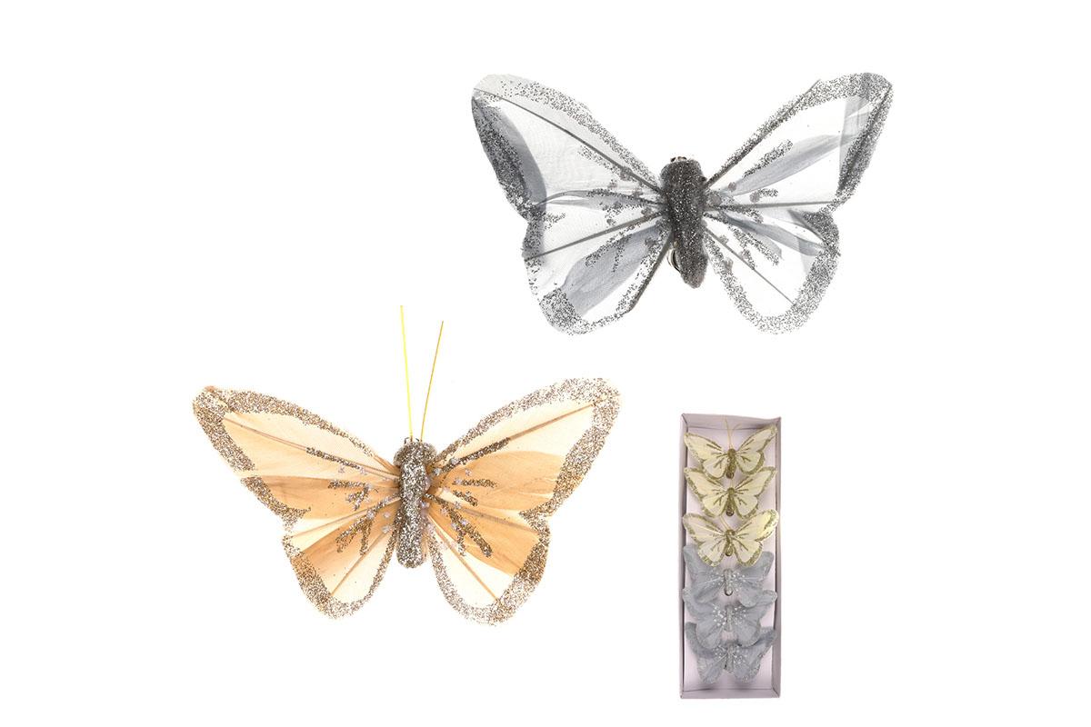 Motýl s klipem, 6ks v krabičce, barva krémová a šedá s glitry, cena za 1 krabičku