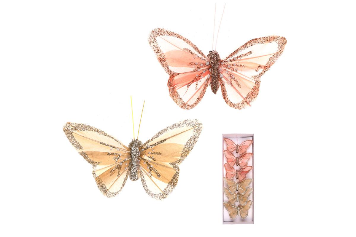 Motýli s klipem, 6ks v krabičce, barva růžová a kávová s glitry, cena za 1 krabičku