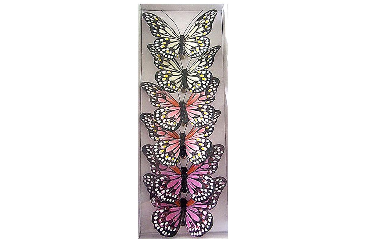 Motýli s klipem, 6ks v krabičce, mix barev, cena za 1 krabičku