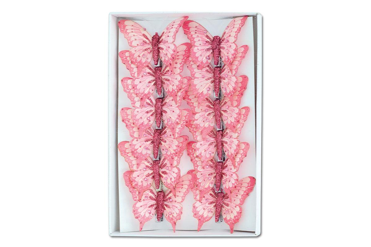 Motýl s klipem, cena za  6 kusů v krabičce