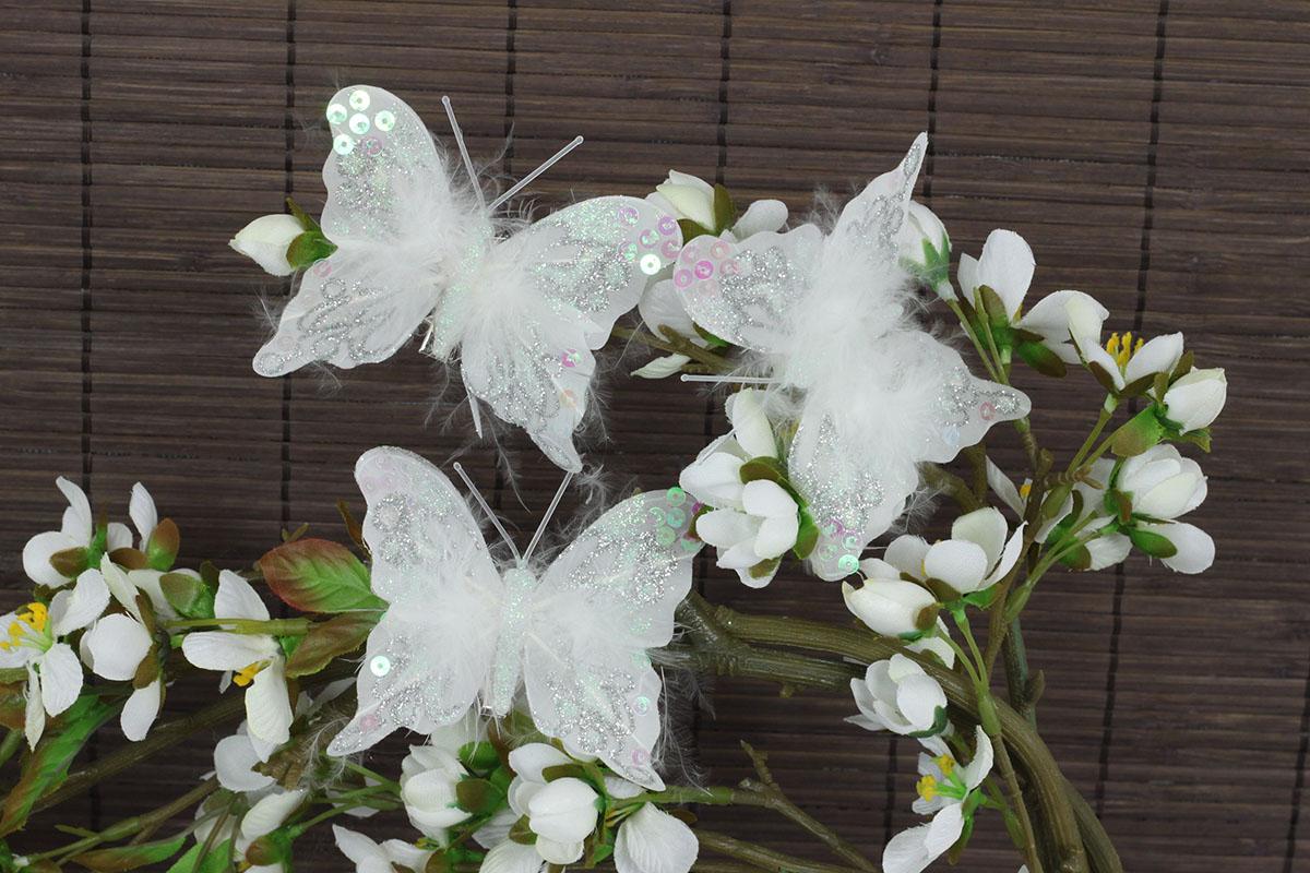 Motýľ so štipcom,  cena za 12 ks/box,  biela farba