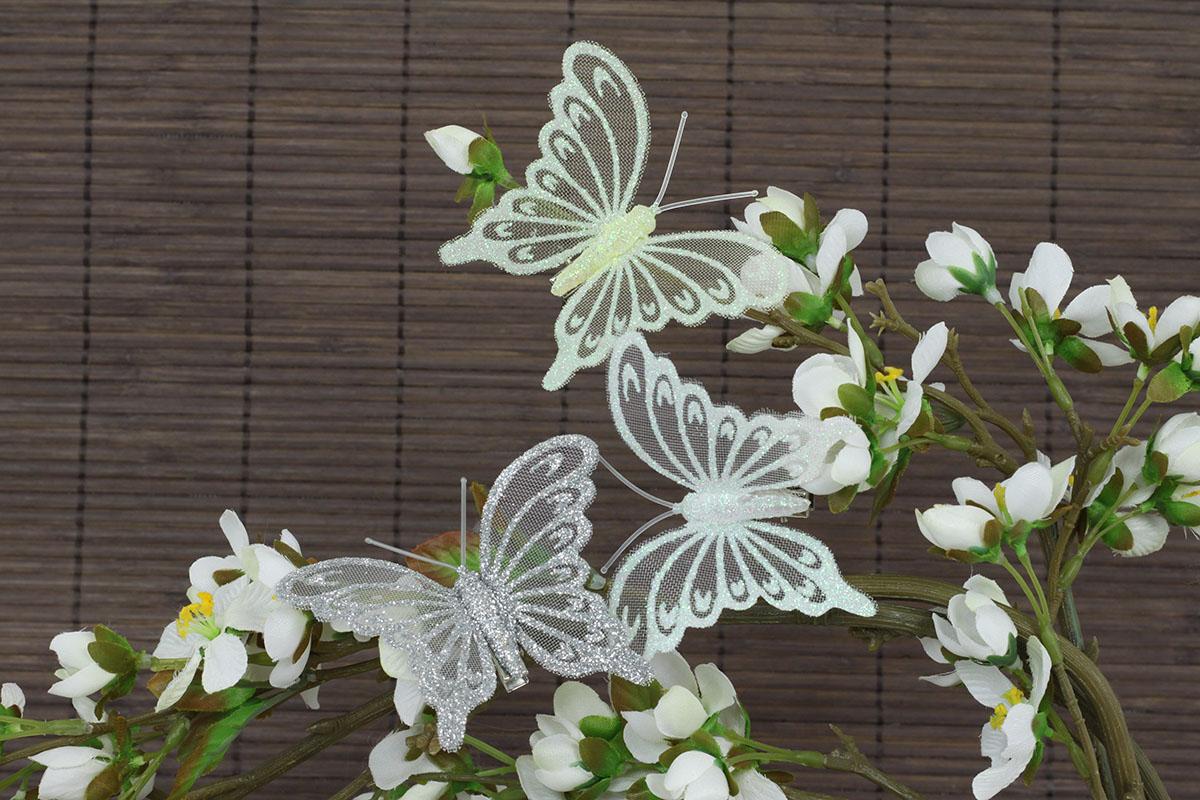 Motýľ so štipcom,  sada 12 ks, mix farieb biela, krémová, strieborná
