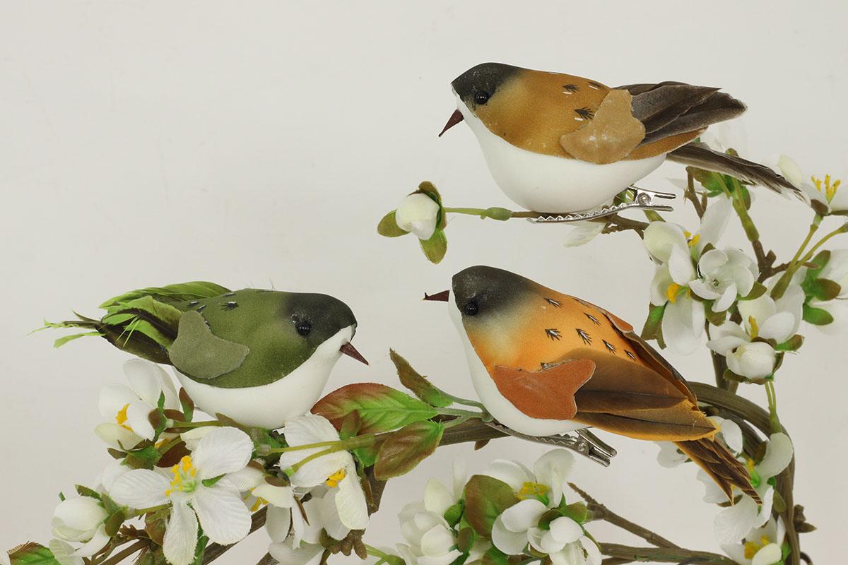 Vtáčik so štipcom, sada 3 ks, mix 3  farieb