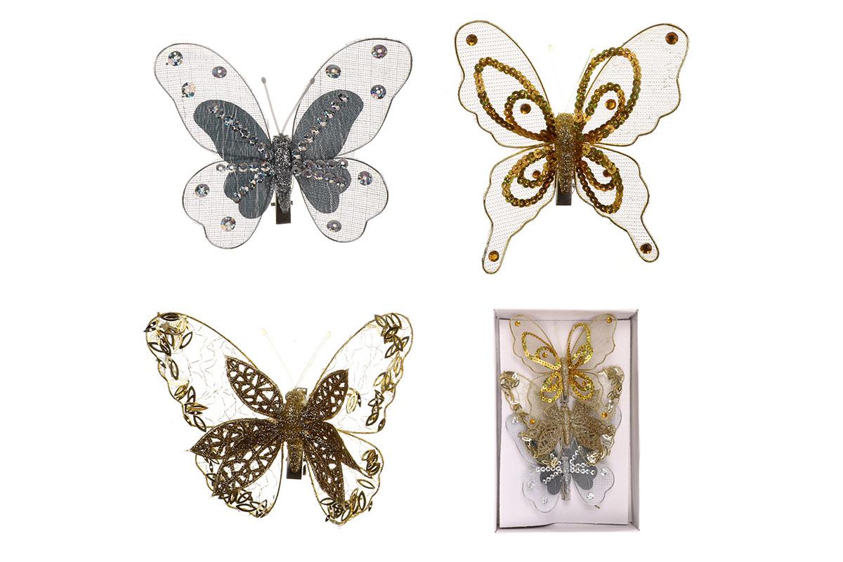 Motýľ so štipcom,  cena za 3 ks/box