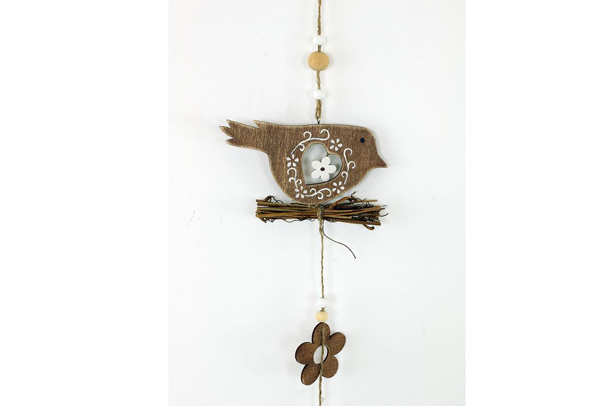 Dřevěná dekorace na zavěšení,  ptáček