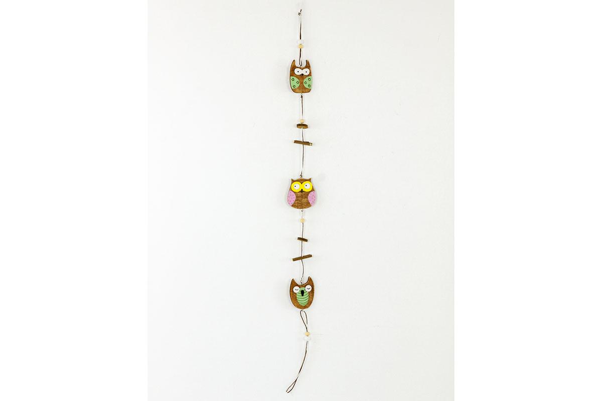 Girlanda , dřevěná dekorace se  třemi sovičkami