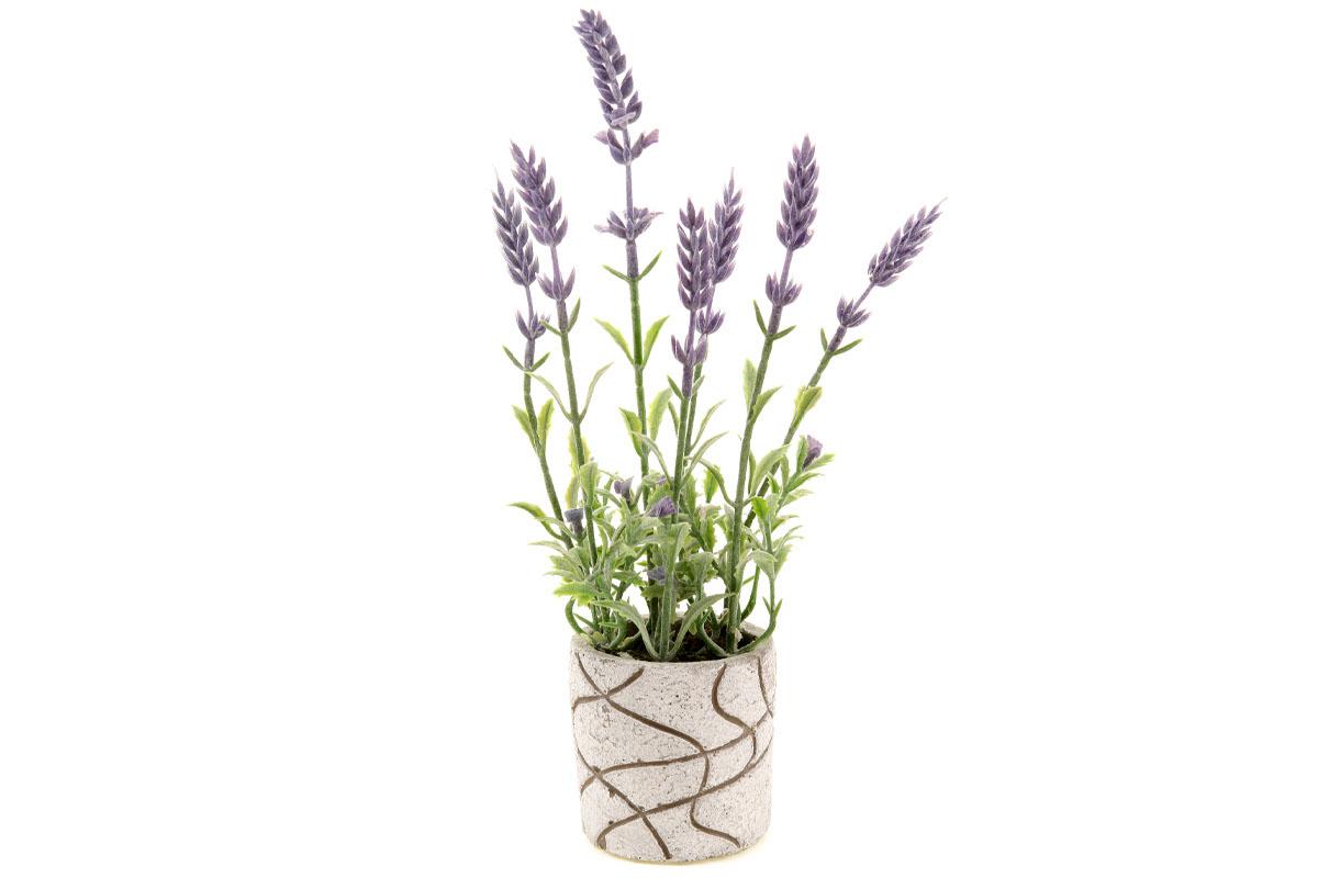 Levandule v betonovém obalu, umělá květina