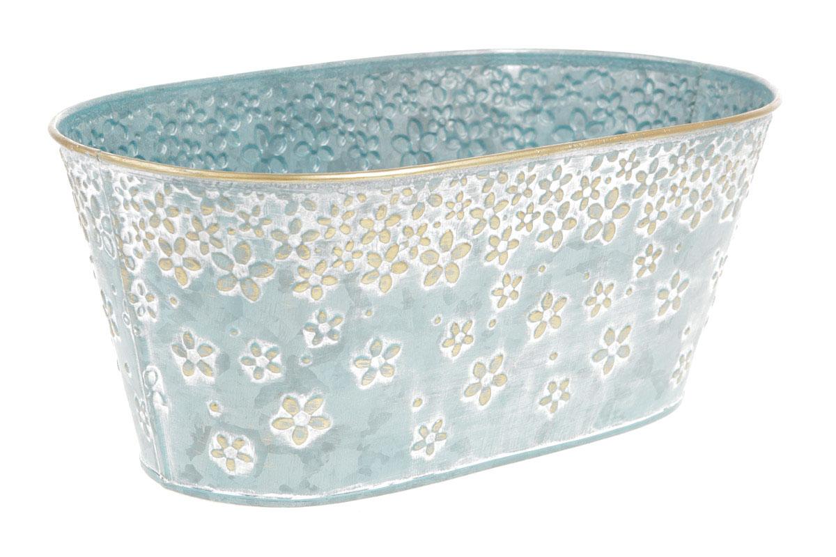 Truhlík z kovu na květiny v modré barvě s dekorem květin