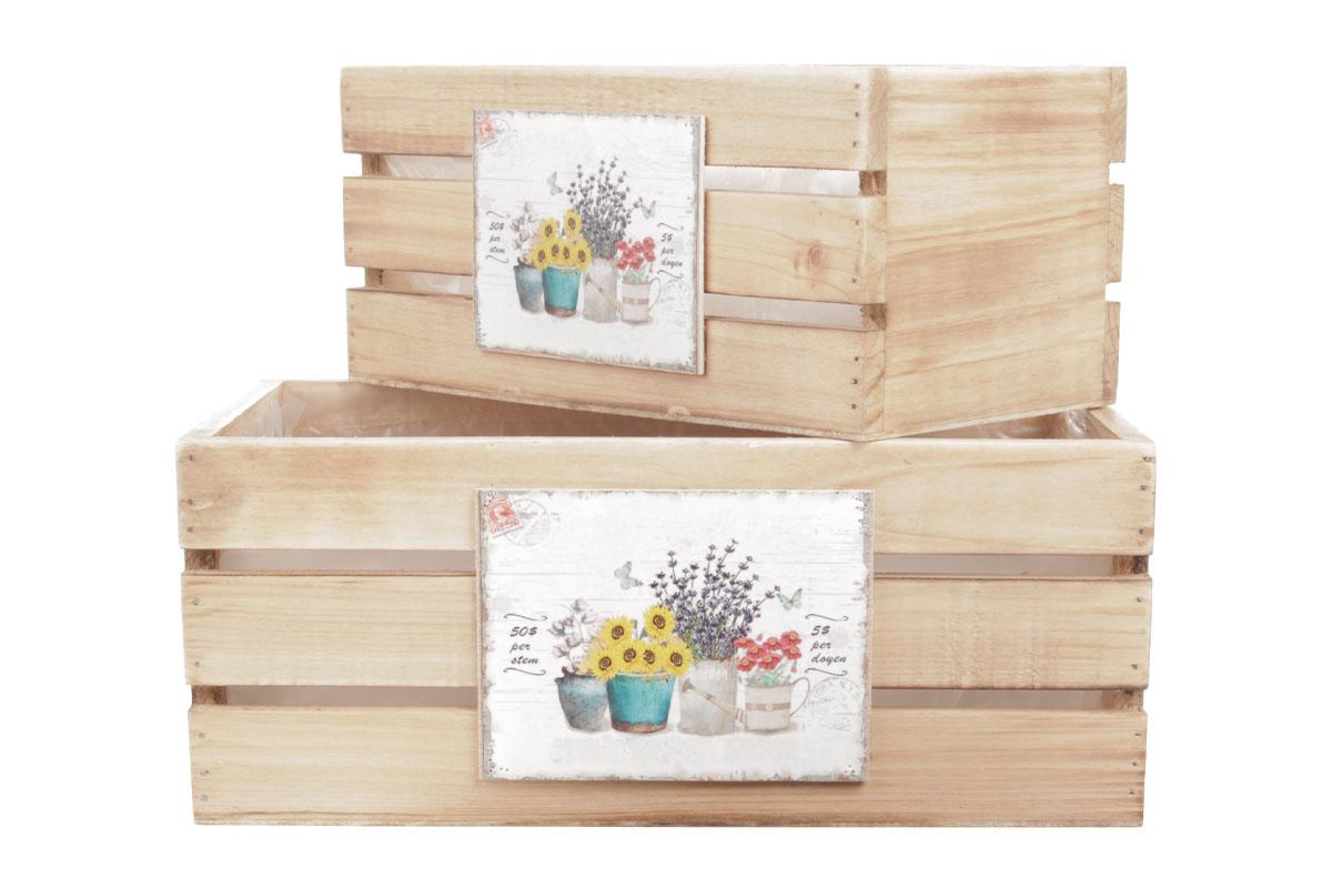 Bedýnky dřevené s igelitovou vložkou a dekorem květin, sada 3ks.