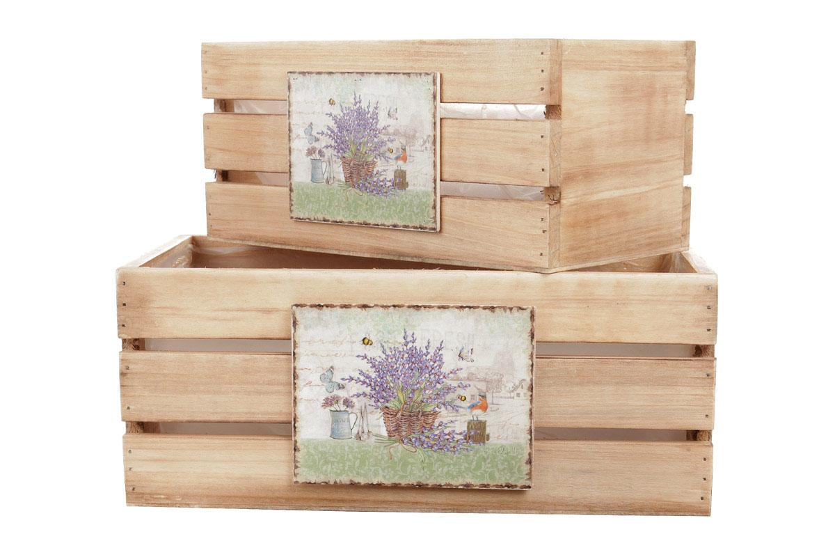 Bedýnky dřevené s igelitovou vložkou a dekorem levandulí, sada 3ks.