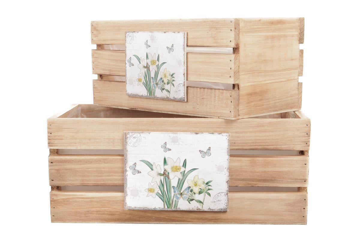 Bedýnky dřevené s igelitovou vložkou a dekorem narcisek a motýlků, sada 3ks.