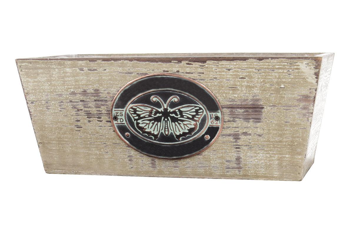 Truhlíky dřevené s igelitovou vložkou a dekoračním štíkem, sada 3ks.