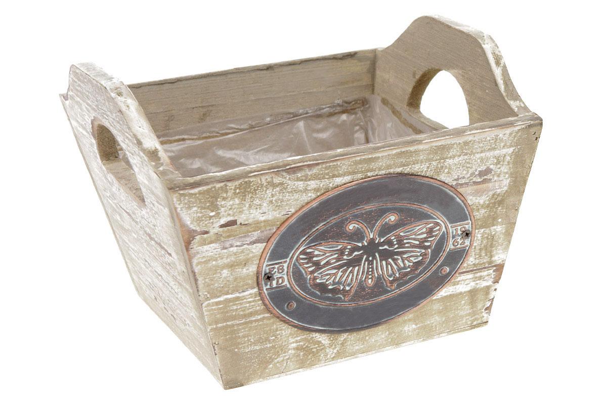 Truhlík dřevěný s dekoračním štítkem, sada 2 kusy