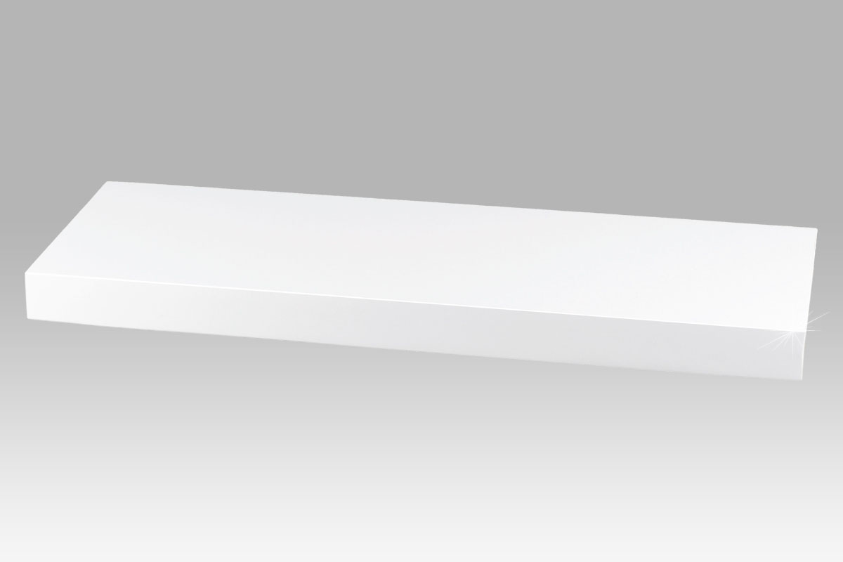 polička nástenná 60x24x4cm, vysoký lesk biely
