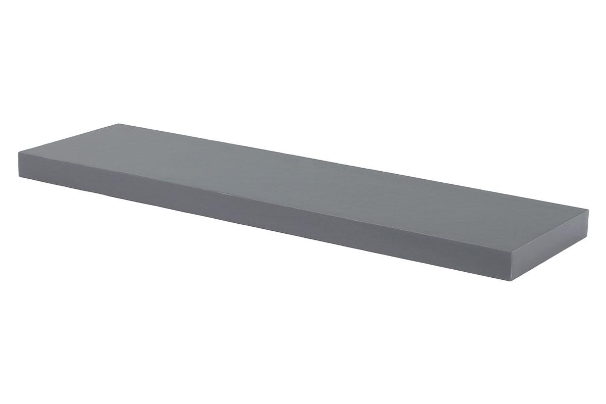 polička nástenná 120x24x4cm, vysoký lesk sivý