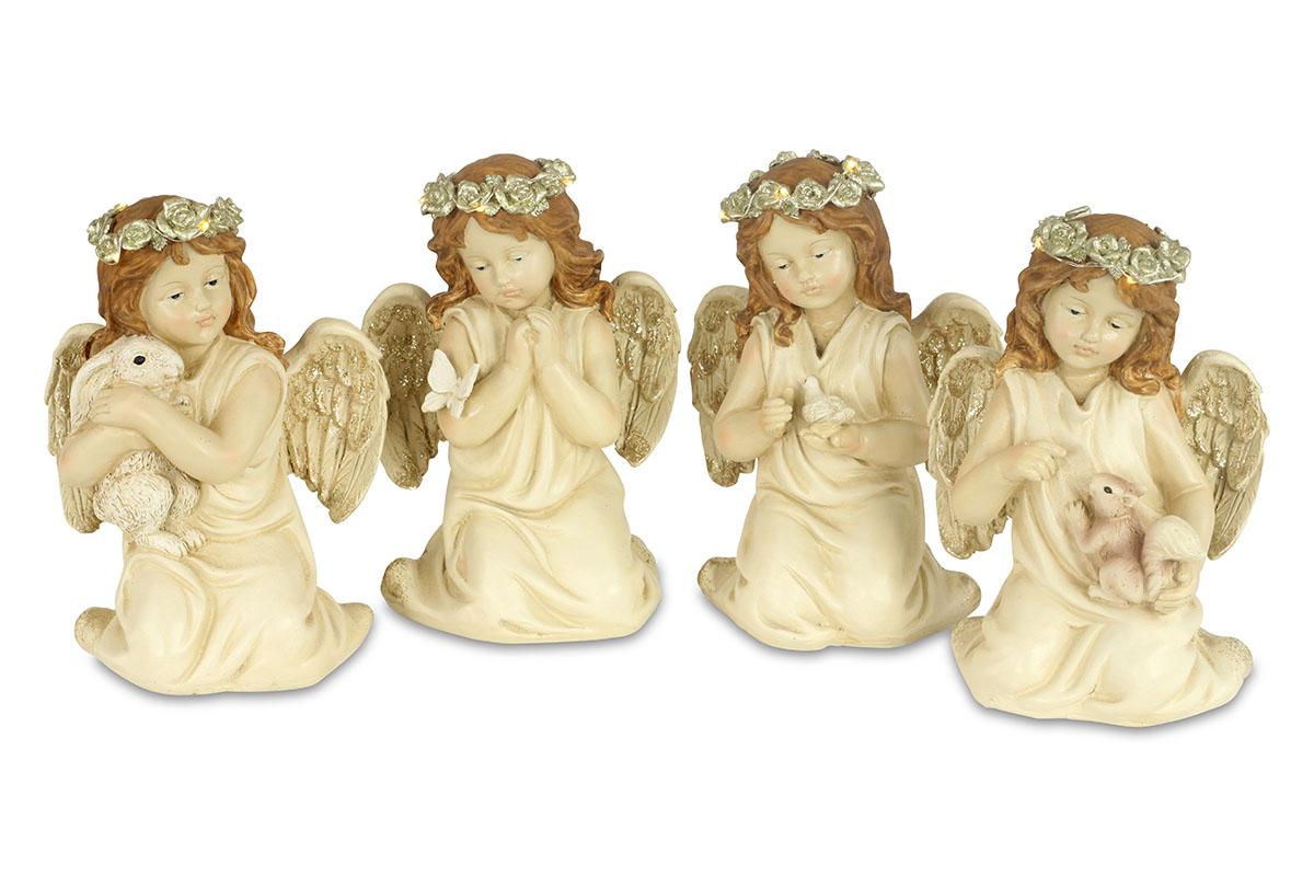 Anděl, dekorace z polyresinu s LED světlem, mix 4 tvarů