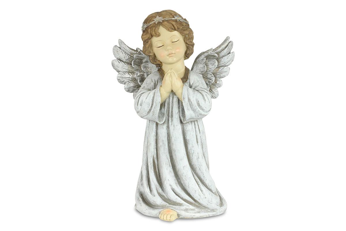 Anděl, dekorace z polyresinu s LED světlem