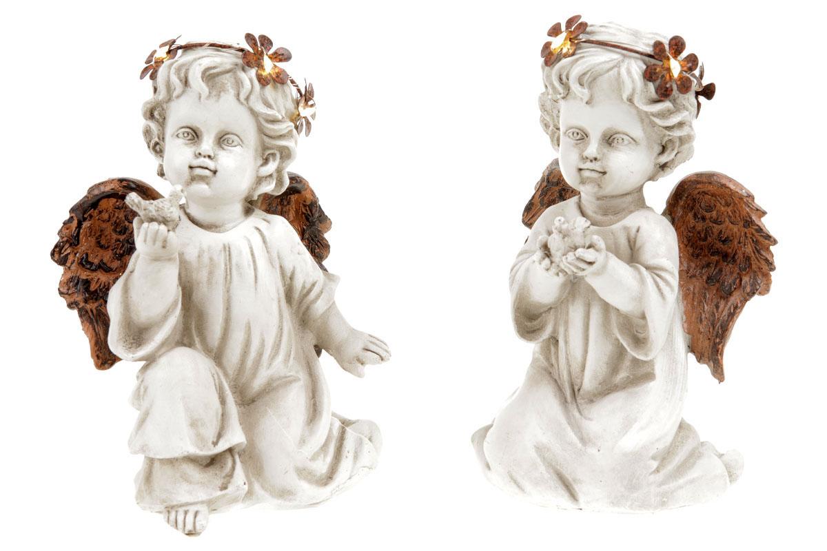 Anděl, dekorace z polyresinu s LED světlem, mix 2 tvarů